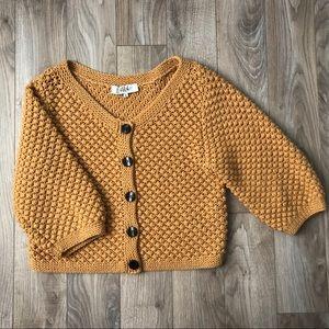 Tibi mustard yellow chunky knit wool sweater